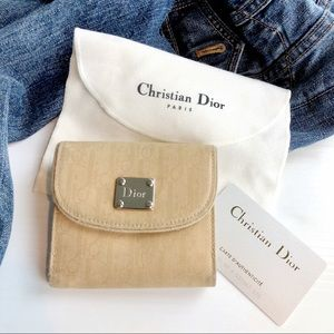 DIOR Nude All Over Monogram D Charm Flap Wallet